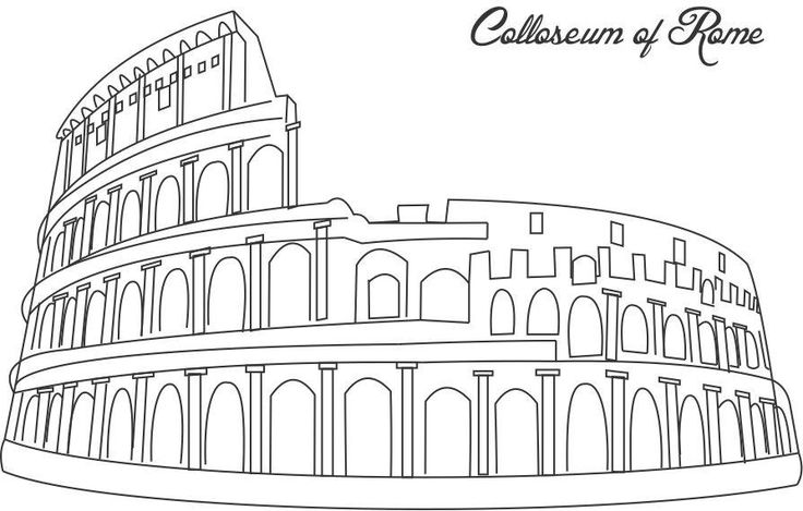 Colloseum of Rome coloring printable page for kids Hallo