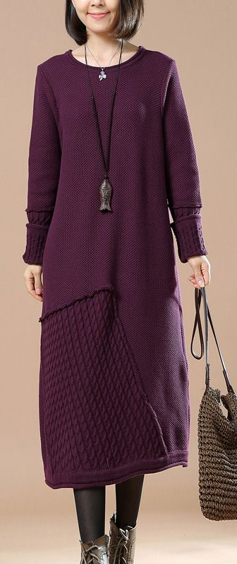 $82.00-boutique purple cable knit sweater knit dresses casual sweater 2018  spring dresses #knit#sweaterdress#sweaterdress#omychic