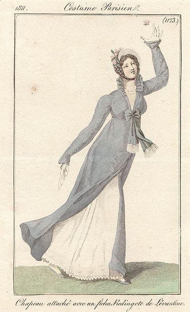 Costume Parisien (1173), 1811. Redingote Chapeau attache avec un fichu, Redingote de Levantine