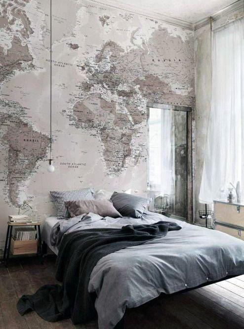 Mens Bedroom Design For Bachelor Pads Wallpaper World Map On Walls Part 96