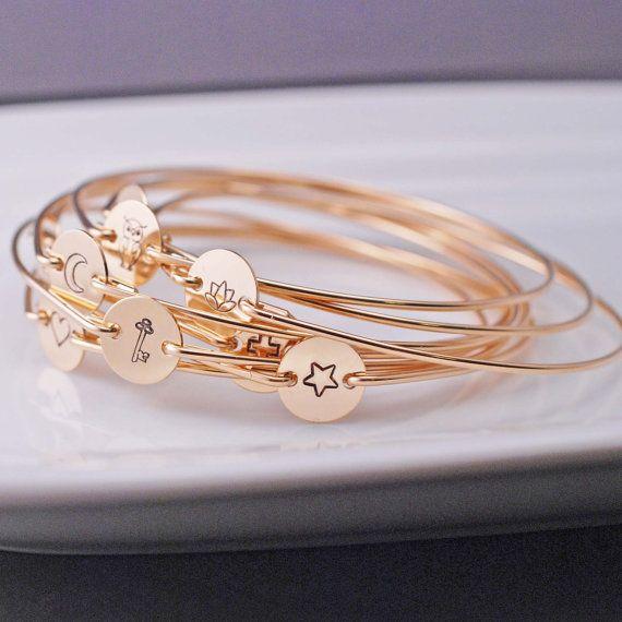 Gold Bangle Bracelet ~ Hand Stamped Gold Bracelet by georgiedesigns