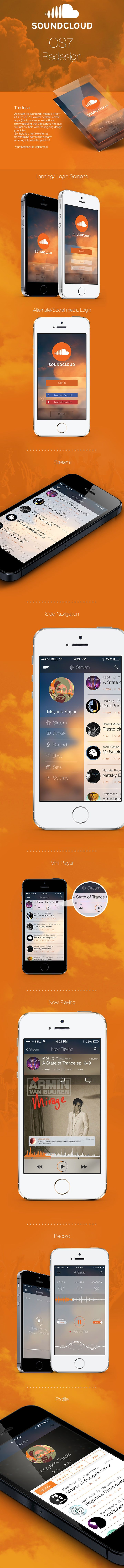 Soundcloud app iOS7 redesign