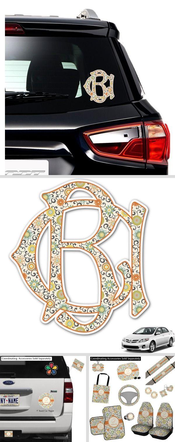 Swirls Floral Monogram Car Decal Personalized Car Monogram Decal Personalised Car Stickers Car Personalization [ 1515 x 600 Pixel ]