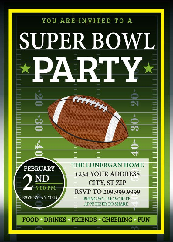 SUPER BOWL PARTY invitation FOOTBALL PARTY