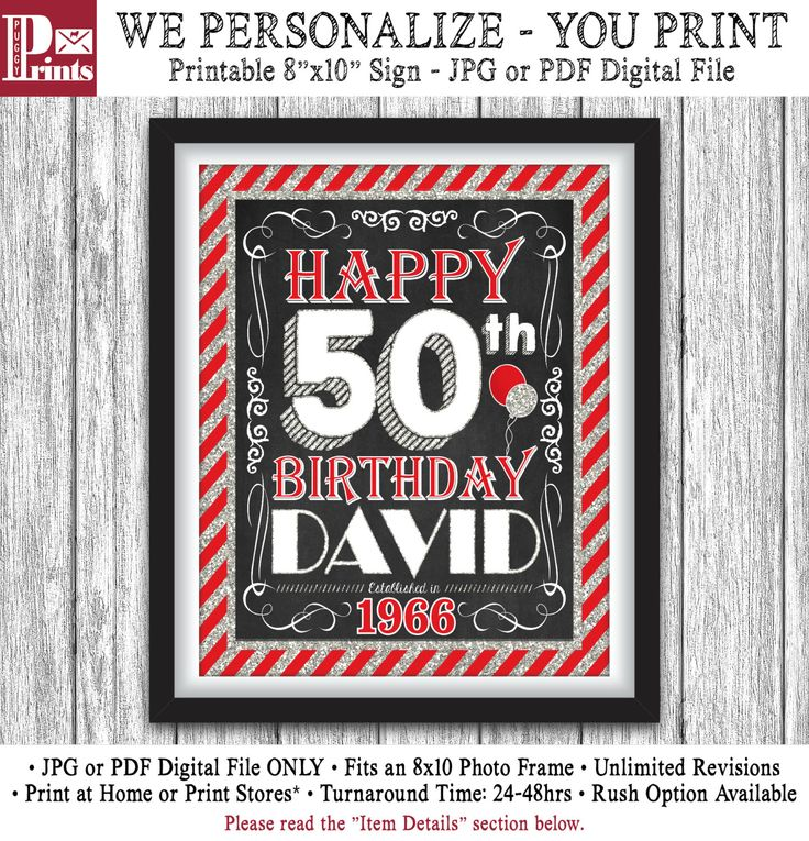 """50th Birthday Party Sign - Printable Happy 50th Birthday Party Decorations - 8""""x10"""" Welcome Sign - DIY Digital File by PuggyPrints on Etsy"""