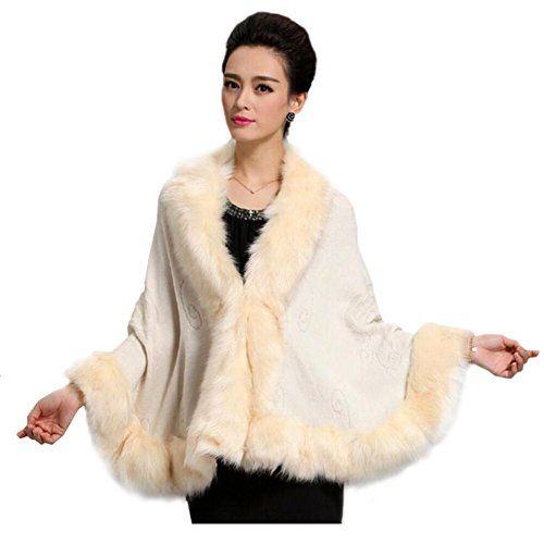 Ladies/Womens Faux Fur Trim Bat Cardigan Cape Poncho Cloak Shawl Coat - http://www.darrenblogs.com/2017/01/ladieswomens-faux-fur-trim-bat-cardigan-cape-poncho-cloak-shawl-coat/