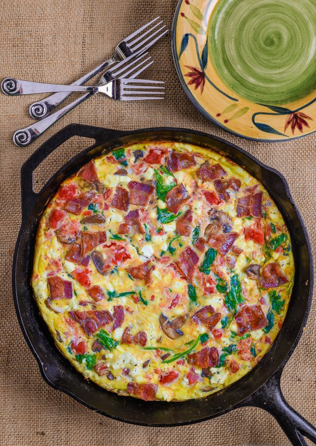 Bacon-Mushroom Frittata - This quick and easy breakfast takes minutes to prepare is quite delicious.