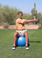Simple golf exercise with a medicine ball and exercise ball. Seated rotations to increase core strength for more power. http://www.golfexercisesblog.com/golf-exercises-for-better-shoulder-turn