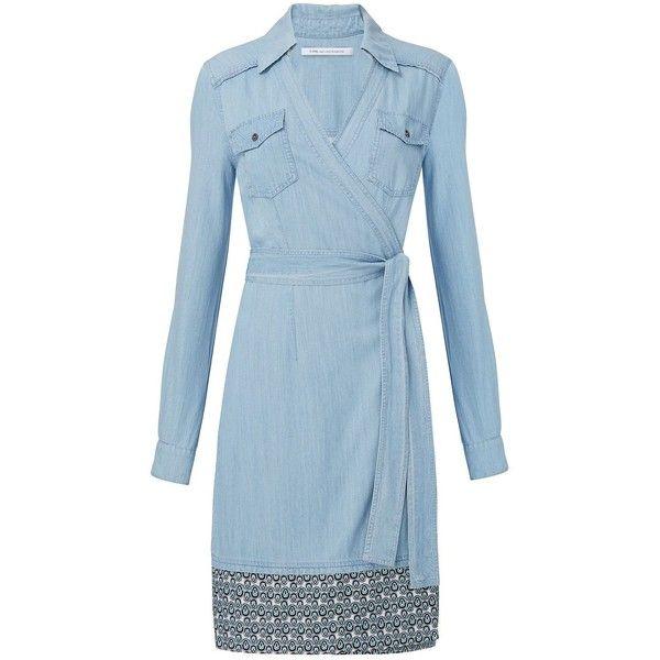 DVF Savion Denim Wrap Dress ($378) ❤ liked on Polyvore featuring dresses, denim, blue dress, blue collared dress, cowgirl dresses, summer wrap dresses and western dresses