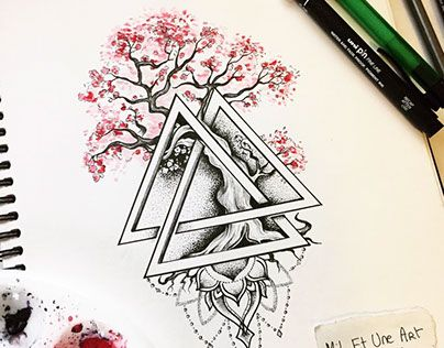 Watercolour dotwork bonsai tattoo design