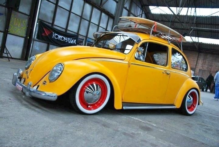 Yellow Beetle With Red Rims Beetle Vw Bug Cars