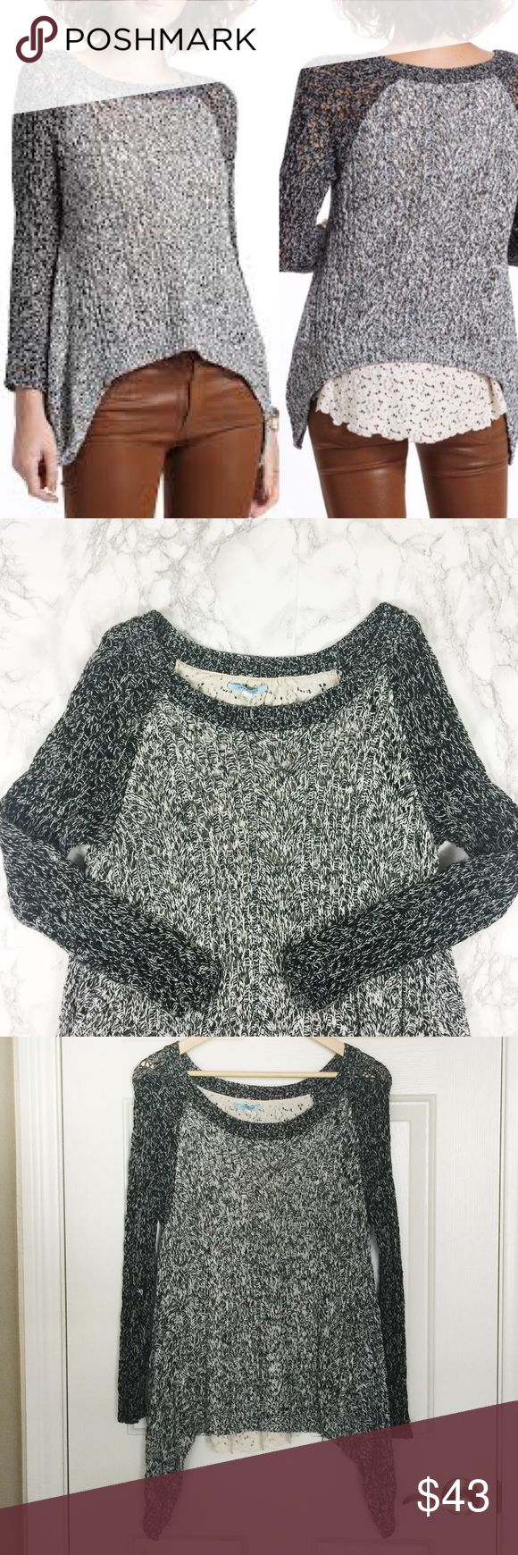 Anthropologie Leifnotes Dipped Lace Marled Sweater Grey sweater with dark grey sleeves. Back lined with lace, peeks out of bottom of sweater. Longer at sides. EUC. Anthropologie Sweaters