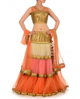 #Exclusivelyin, #IndianEthnicWear, #IndianWear, #Fashion, Multi Colored Lengha Set with Sequined Blouse