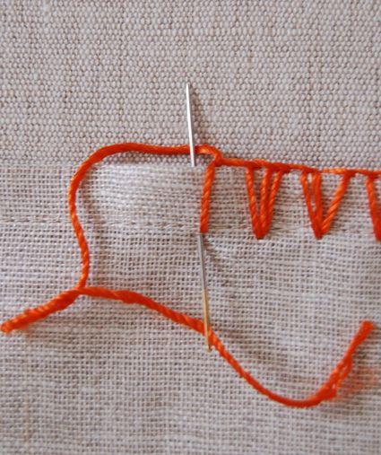 Outro ótimo pontinho pra quem não sabe fazer crochê, porque esse aqui também é feito com agulha comum... Dá pra enfeitar um monte de...