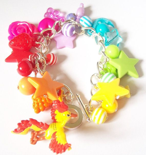 Pokemon Moltres Rainbow Charm Bracelet Kawaii by moonblastdesigns