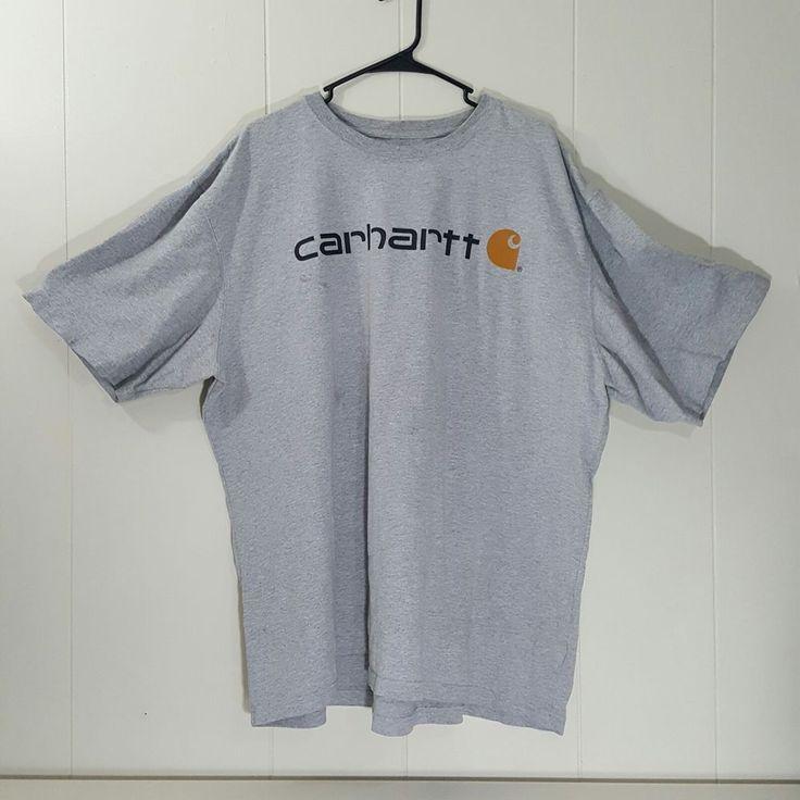 Carhartt 2XL Gray T Shirt Tee Crewneck Logo Work Shirt #Carhartt #BasicTee