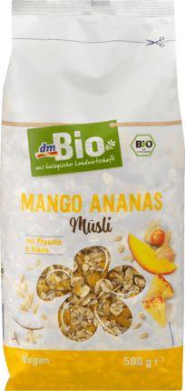 Dieses Vollkornmüsli ist eine leckere Fruchtmischung aus exotisch-süßen Ananas- und Mangoflocken sowie knusprigen Bananenchips - abgerundet durch Physalis...