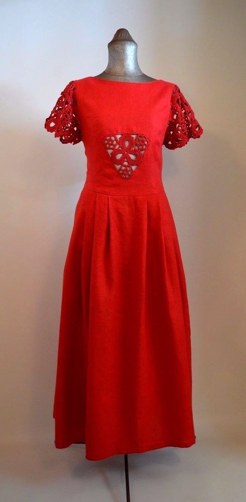 Red Linen Maxi Dress with Crochet Sleeves and Front Panel