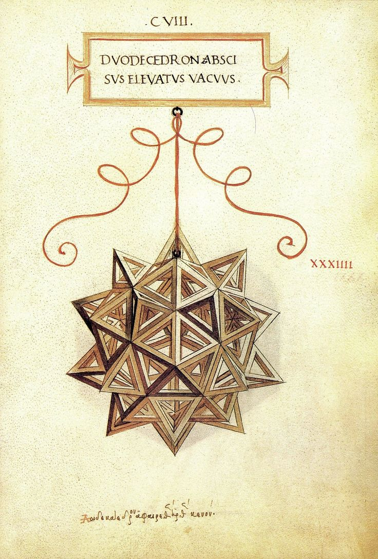 Leonardo da Vinci drew the illustrations for Luca Pacioli's 1509 book De Divina Proportione (The Divine Proportion). Drawing of the Duodecedron Abscisus Elevatus Vacuus, consisting of 120 equilateral triangles, from the manuscript of the book.