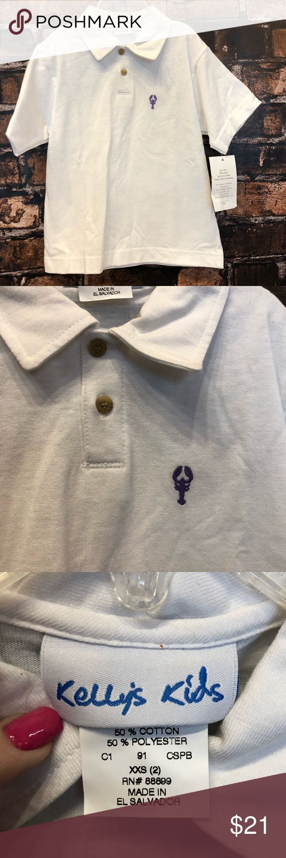 Kelly's Kids XXS polo white jersey purple lobster Very nice!! New with tags!!! White jersey purple lobster polo! Size XXS! In good condition! kelly's kids Shirts & Tops