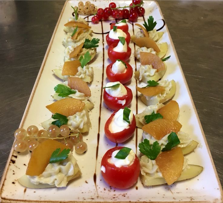 Fresh pear with pecorino cheese and caramelised apricot !,, cherry tomato with mozzarella mousse and fresh basil