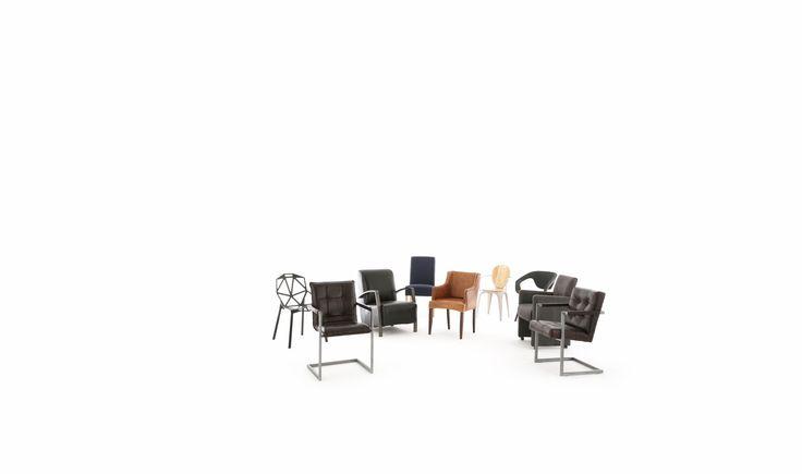 Eetkamerstoel Capiton in buffelleer met industrieel metalen frame en zichtbare lasnaden. Stoel met stoer, strak en eigentijds karakter voor thuis en kantoor.