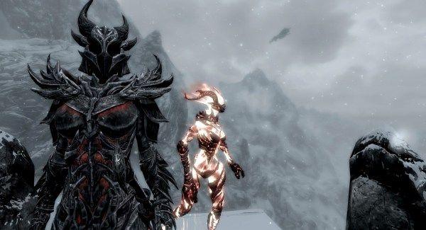 Female Daedric Armor Set With Flame Atronach And Dragon