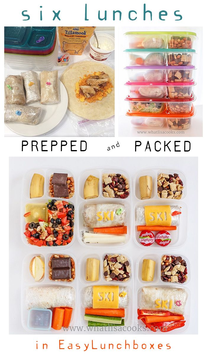 6 lunches prepped and packed in @easylunchboxes. By @whatlisacooks