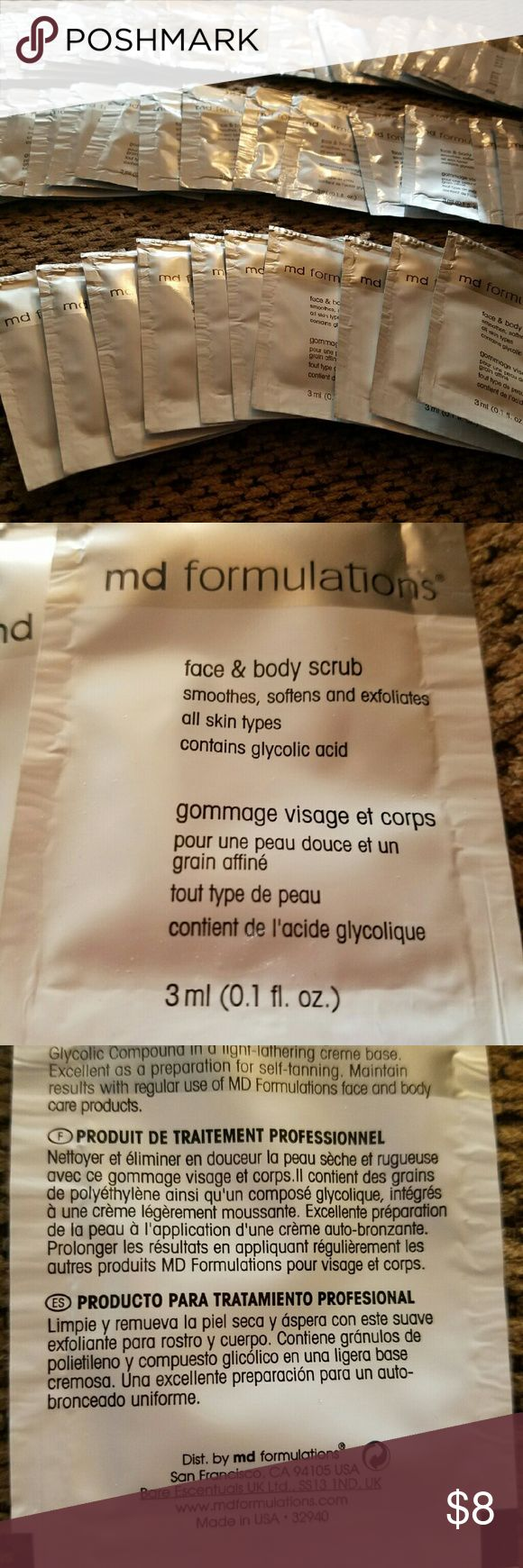 Bare Escentuals MD Formulations Face Scrub 60 pack MD Formulations Face & Body Scrub. There are 60 sealed, single use packets. Smoothes, softens, and exfoliates all skin types. Contains glycolic acid. Bare Escentuals Makeup Brushes & Tools