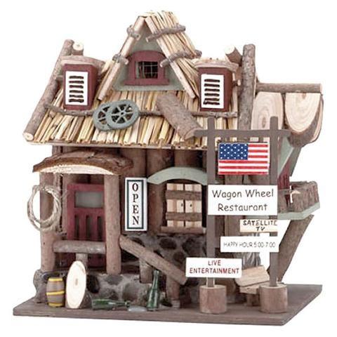 Roda de vagão de madeira Restaurante Bird House 32187