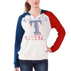 Texas Rangers Women's White Double Play Pullover Hoodie T-Shirt