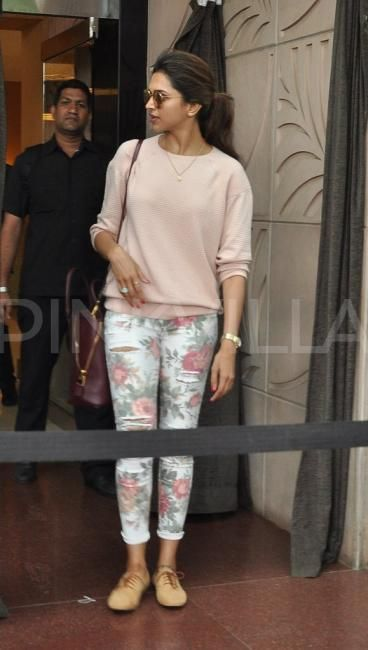 Deepika Padukone. Such a casual, comfy look. I want those shoes!