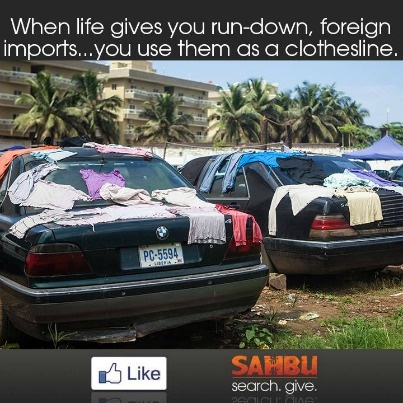 Upon seeing squatters in the old Ministry of Health building in Liberia, we found a stockpile of beatup, foreign imported cars being used as clotheslines. Repin if you'd like to see more help amongst the Liberian people