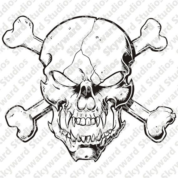 skull and crossbones clipart sssc01 by SkywardStudiosArt on Etsy