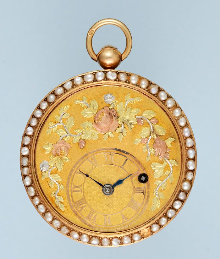 Antique Pocket Watches - Pearl Set Three Colour Gold Verge - Vintage Pocketwatches from Pieces of Time