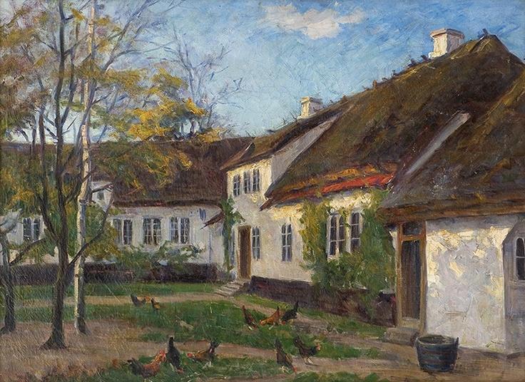 Marie Tannæs (1854-1939): Gårdstun med høner