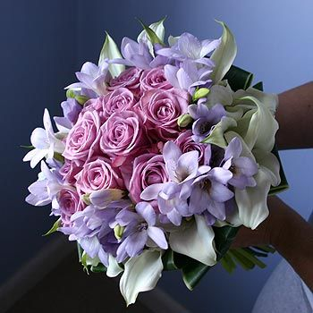 Pink Purple White Roses Freesia Calla Lilys Bouquet Flowers Hand Tied wallpaper
