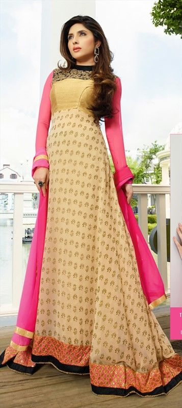 416293: Small #Lotus flower prints on this #anarkali makes it a beautiful partywear. Shop now!  #beige #ethnic #neon