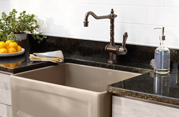 DXV Orchard Kitchen Farm Sink and Victorian Kitchen Faucet
