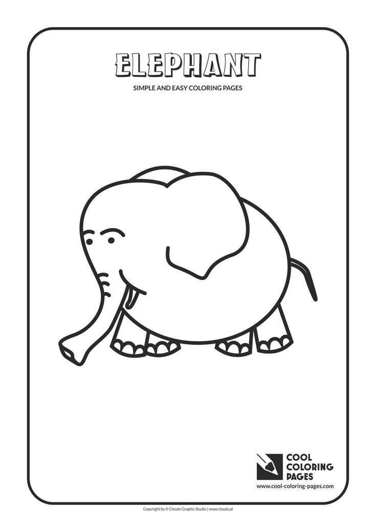 Simple and easy coloring pages for toddlers - Elephant