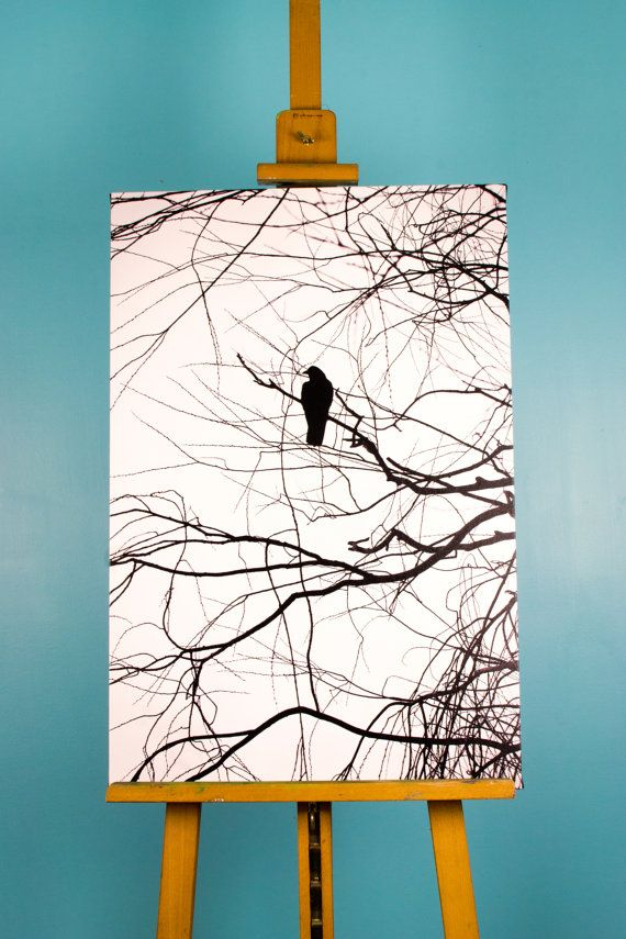 Crow Silhouette Black and White 20 x 30 Canvas by TerraVision, $200.00