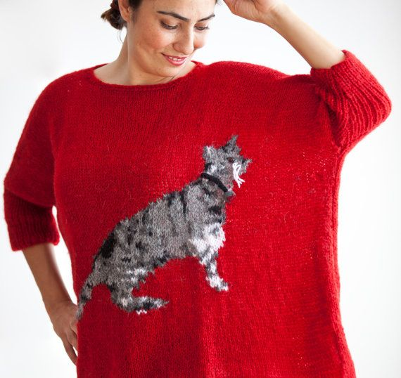Red hand knitted sweater with cat pattern plus size over - Knitted cat sweater pattern ...