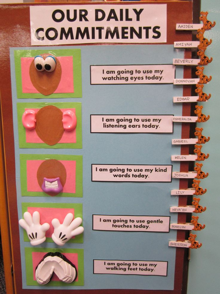 Our daily commitment board! Children's names move (using small clothespins) to their corresponding commitment!