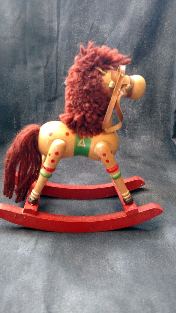 "Wooden Rocking Horse Christmas Ornament 7"" x 7"""