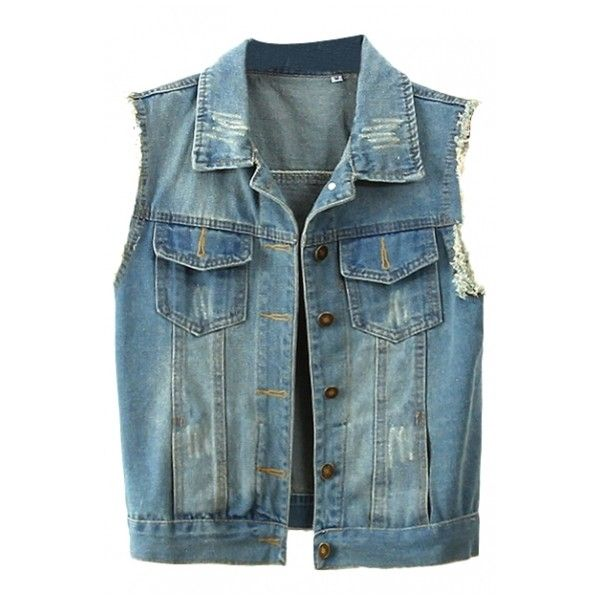 Blue Sleeveless Double Pocket Frayed Cuffs Denim Jacket ($16) ❤ liked on Polyvore featuring outerwear, jackets, vest, denim jacket, blue jean jacket, sleeveless jacket, jean jacket and no sleeve jacket