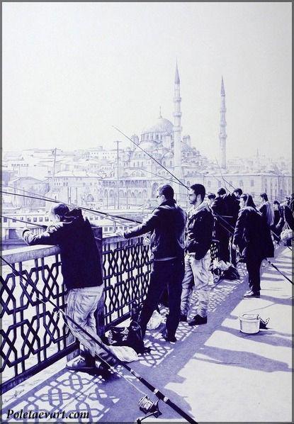 Fishermen in Istanbul -2013 - 49.5 x 71.5 cm