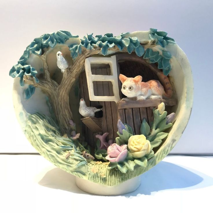 Heart Shaped Bowl figurine with Cat Birds mouse outdoor scene resin collectible