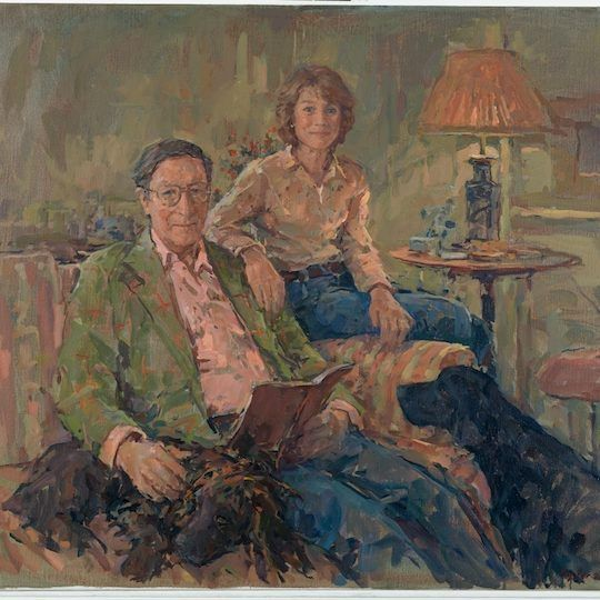 Max and Penny Hasting with Ludo by Susan Ryder. Portrait of a couple with their dog