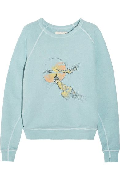 The Great - The College Printed Cotton-terry Sweatshirt - Blue - 2