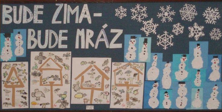 1. třída - sněhulák z vytrhávaných kousků, vyzdobené písmenko, skupinky - ptáci na krmítku